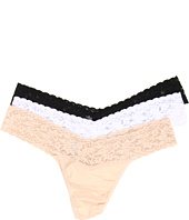 Hanky Panky - Organic Cotton Low Rise Thong w/ Lace 3-Pack
