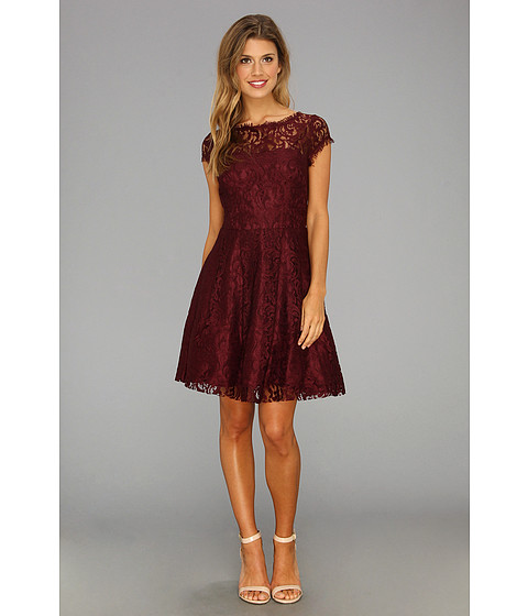 ABS Allen Schwartz Flair Lace Dress w/ Cutout Back