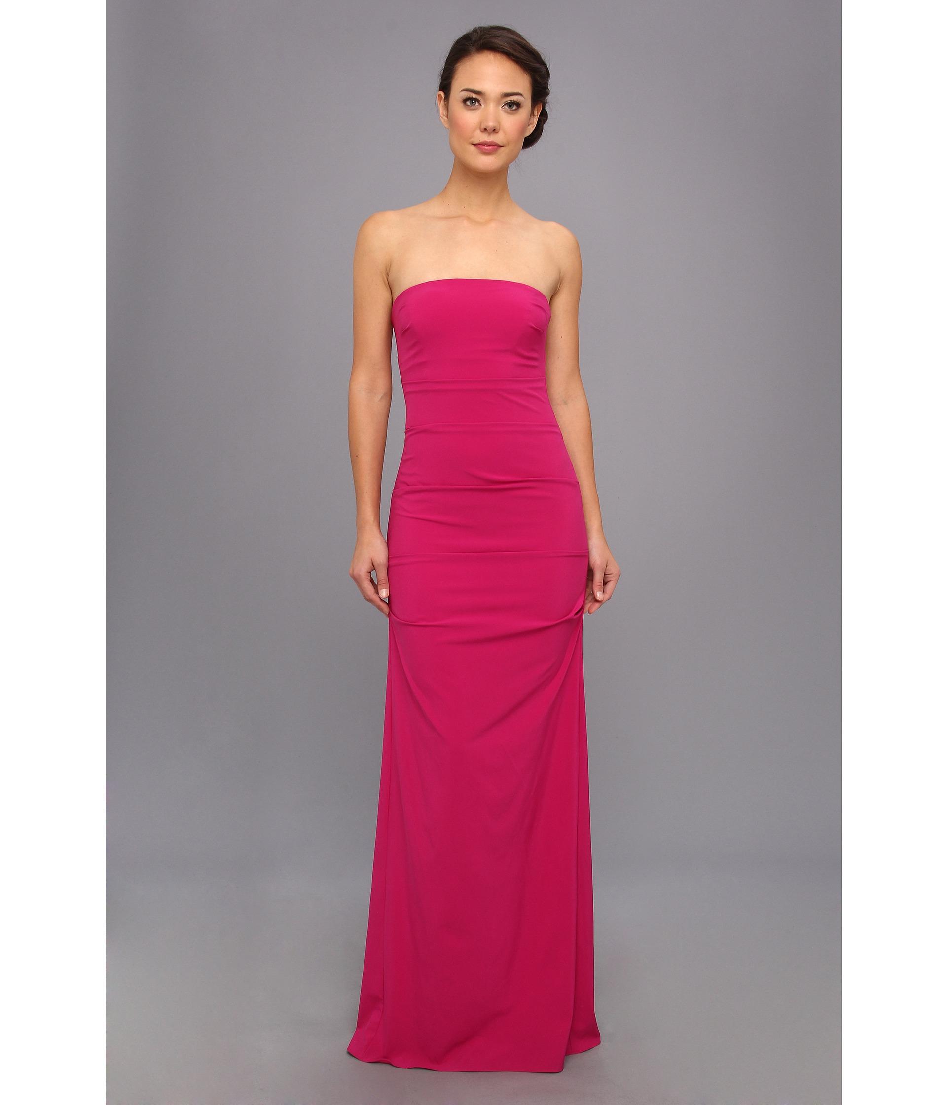 nicole miller strapless column gown pink