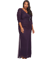 Adrianna Papell - Plus Size 3/4 Sleeve Side Drape Gown