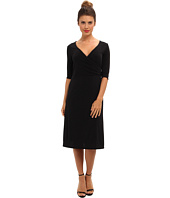 Christin Michaels - Tea Length 3/4 Sleeve Wrap Dress