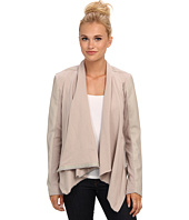 Blank NYC - Draped Vegan Leather and Ponte Jacket in Taupe