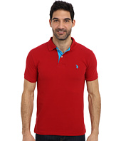 U.S. POLO ASSN. - Slim Fit Solid Pique Polo w/ Contrast Color Striped Under Collar