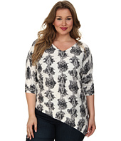 DKNYC - Plus Size Vertical Winter Python Printed Triangle Pullover