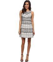 Jessica Simpson - Sleeveless Fit and Flare Dress w/ Lace Panels and Piping