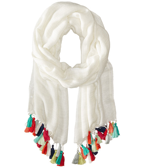 fringe fashion: white scarf with colored fringe detail
