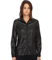 Just Cavalli - Perforated Button Front Long Sleeve Top
