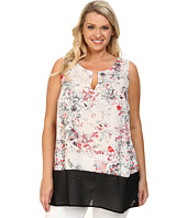 DKNY Jeans - Plus Size Sketchy Floral Print and Color Block Tank Top