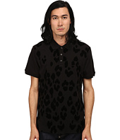 Just Cavalli - Short Sleeve Pique Polo w/ Flocked Leopard