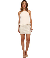 Aidan Mattox - Sleeveless Halter Blouson Dress w/ Bead Skirt