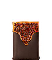M&F Western - Leather Stitch Floral Embossed Tri-Fold Wallet