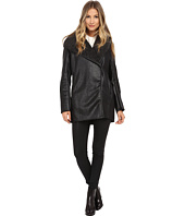 Sam Edelman - Hooded Faux Sherpa Jacket w/ PU Piping