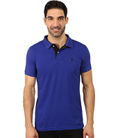 U.S. POLO ASSN. - Slim Fit Solid Pique Polo with Contrast Color Striped Under-Collar