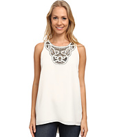 Vince Camuto - Sleeveless High-Low Hem Blouse w/ Neck Embelishment