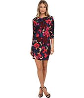 Donna Morgan - 3/4 Sleeve Printed Scuba Wedge Dress
