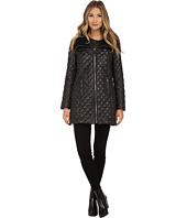 Via Spiga - Quilt Coat w/ Knit Collar and Front Gold Zip