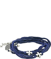 King Baby Studio - Multi Wrap Indigo Silk Bracelet with Crosses