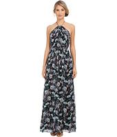 JILL JILL STUART - Halter Crisscross Back Printed Silk Chiffon Gown