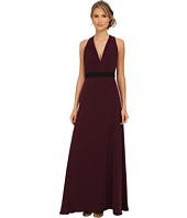 JILL JILL STUART - Sleeveless Deep V-Belted Crepe Gown