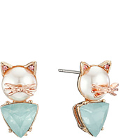 Betsey Johnson - Pearl Critters Cat Stud Earrings