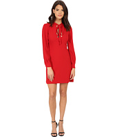 JILL JILL STUART - Short Keyhole Long Sleeve Crepy Dress