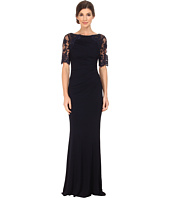 Badgley Mischka - Short Sleeve Lace and Matte Jersey Gown