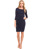 Three Dots - 3/4 Sleeve Asymmetrical Shirred Dress