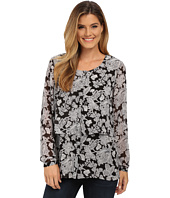 Miraclebody Jeans - Delilah Chantilly Lace Print Blouse w/ Body-Shaping Inner Shell