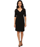 Adrianna Papell - Striped Lace with Banded Jersey Dress
