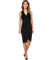 Michael Stars - Cupro Sleeveless Vee Neck Draped Dress