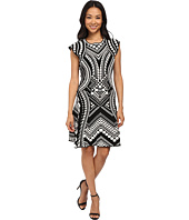 Adrianna Papell - Scoop Neck Cap Sleeve Flare Dress
