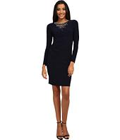 Vince Camuto - Long Sleeve Jersey Dress w/ Heavily Embellished Neckline
