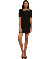 Vince Camuto - 3/4 Sleeve Crepe Dress w/ Beaded Neckline