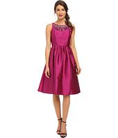 Adrianna Papell - Sleeveless Mid Length Beaded Taffeta Party Dress w/ Mesh Yoke