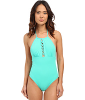 Shoshanna - Mint Solid Front Lattice Maillot One-Piece