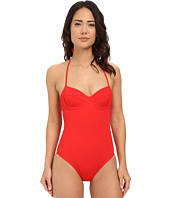 Shoshanna - Red Solid Lattice Back One-Piece