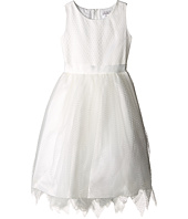 Us Angels - Dot Netting Sleeveless Dress w/ Tiered Hanky Hem Skirt (Big Kids)