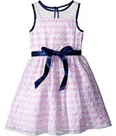 Us Angels - Organza Strip Sleeveless Illusion Dress w/ Belt & Full Skirt (Toddler/Little Kids)