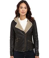 Levi's® - Asymmetrical Faux Leather Hooded Moto w/ Sherpa