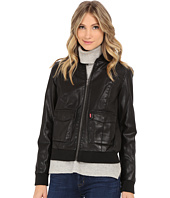Levi's® - Zip Front Faux Leather Varisty with Jersey Hood