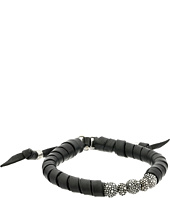 King Baby Studio - Thin Natural Wrap Black Leather Bracelet with Stingray Beads