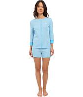 LAUREN Ralph Lauren - Striped 3/4 Sleeve Henley Boxer Pajama Set