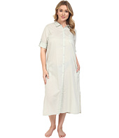 Yummie - Plus Size Cotton Voile Mandarin Button Down Dress w/ Side Vents
