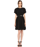 Vera Wang - Short Sleeve Pleated Peasant Dress