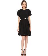 Vera Wang - Short Sleeve Pleated Peasant Dress