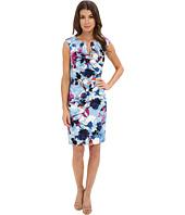 Adrianna Papell - Pleated Jacquard Side Wrap Dress