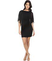 Adrianna Papell - Banded Illusion Sleeve Flutter Dress