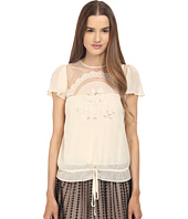 RED VALENTINO - Cut Out Embroidery Point D'esprit Blouse