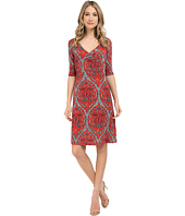 Christin Michaels - Tea Length 3/4 Sleeve Wrap Dress
