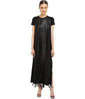 Neil Barrett - Fringed Leather Jersey Long Fringed Eco Leather + Crepe Stretch Dress